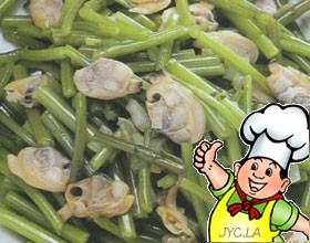 蛤肉炒茼蒿的做法